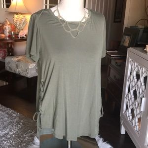 """HOLLISTER"" Green S t-shirt with lace up on sides."